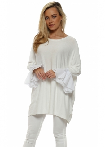 White Contrast Bow Bell Cuff Jumper