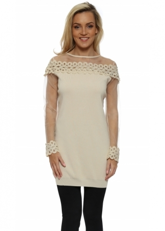 Beige Spiral Lace Mesh Sleeve Long Jumper