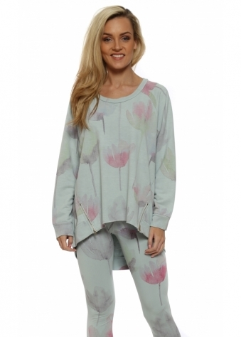 Anna Arty Bloom Julep Grey Zip Sweater
