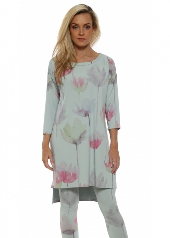 Ariana Arty Bloom Split Side Tunic Top In Julep Grey