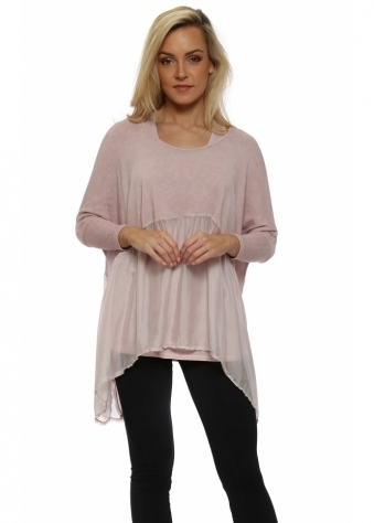 Pink Layered Floaty Silk Top