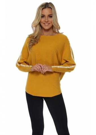 Mustard Diamonte Embellished Sleeve Jumper