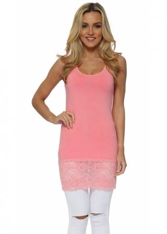 Sammy Ibiza Coral Lace Hem Long Vest