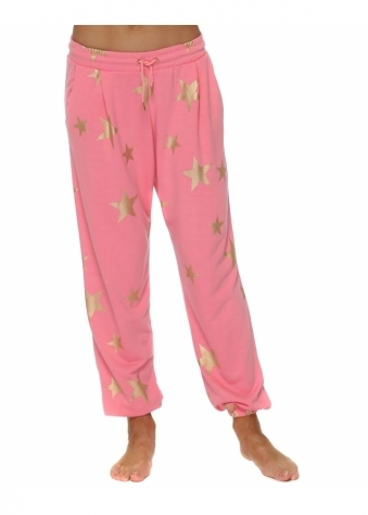 Brooke Ibiza Sunrise Gold Foil Star Jogger Pants