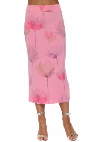 Audrey Arty Bloom Midi Skirt In Ibiza Sunrise