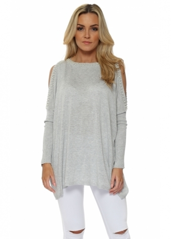 Grey Pearl Trimmed Cold Shoulder Jumper
