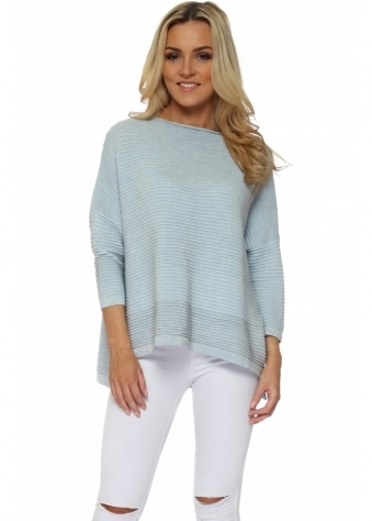 Baby Blue Colour Block Lurex Ribbed Jumper