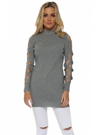 Grey Open Lattice Sleeve Long Jumper