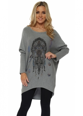 Grey Feather Studded Dream Catcher Baggy Jumper