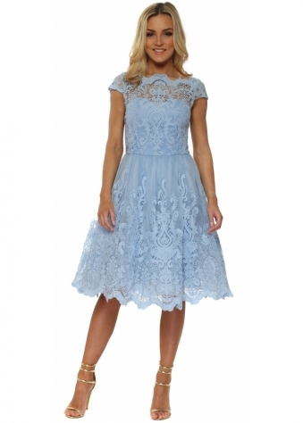 Baroque Powder Blue Embroidered Tea Dress