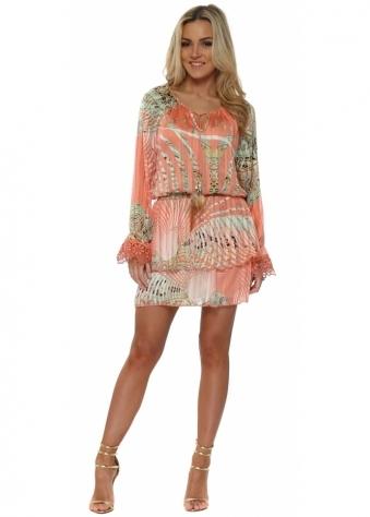 Tahel Coral Tropical Paisley Print Mini Dress