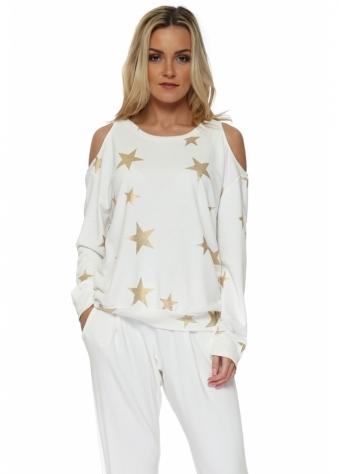 Belle Vanilla Gold Foil Star Cold Shoulder Sweater