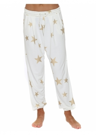 Brooke Vanilla Gold Foil Star Jogger Pants