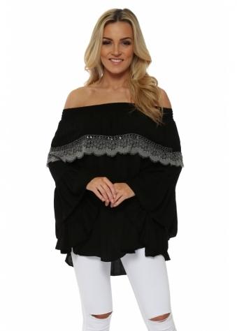 Black Lace Off The Shoulder Top