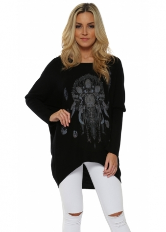 Black Feather Studded Dream Catcher Baggy Jumper