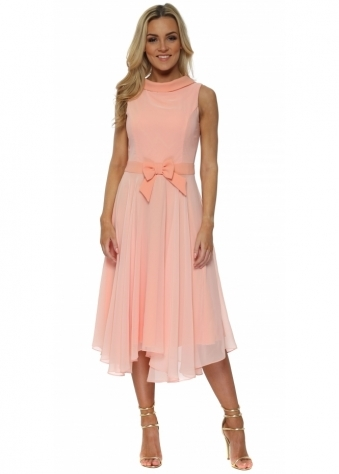Peach Chiffon Collar Neckline Midi Dress