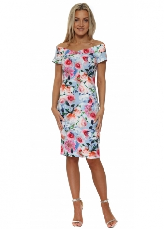 Blue Floral Print Bardot Pencil Dress