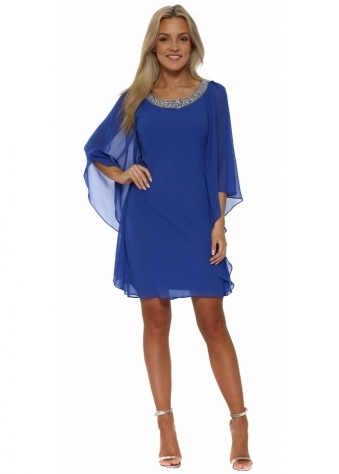 Royal Blue Chiffon Diamonte Batwing Dress