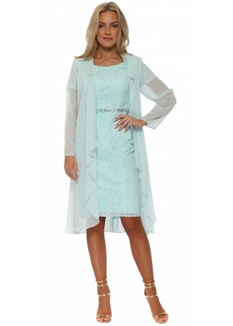 Mint Lace Pencil Dress With Chiffon Coat