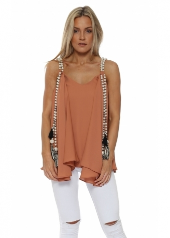 Terracotta Chiffon Waterfall Pearl Top
