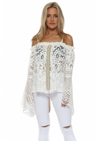 White Lace Embellished Bell Sleeve Top