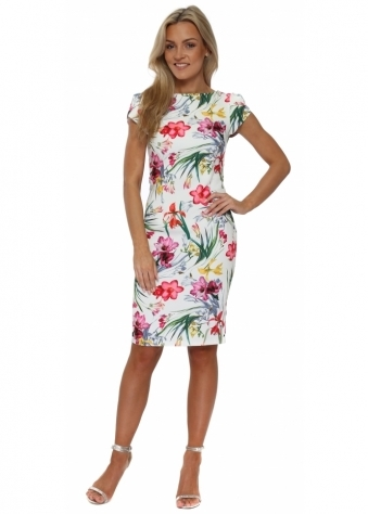 Multi Floral Printed Pencil Dress