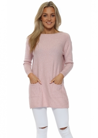 Baby Pink Pocket Detail Tunic Jumper