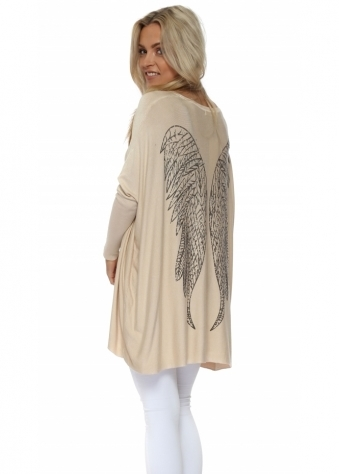 Beige Angel Wings Baggy Jumper