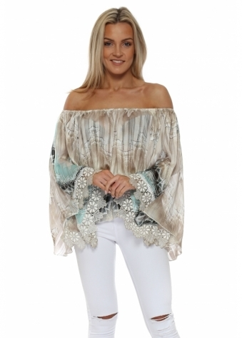 Grande Aqua & Mocha Off The Shoulder Top