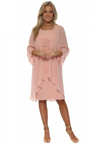 Peach Sequin Ruched Lace Dress & Chiffon Coat
