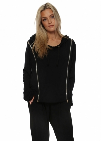 Venus Black Double Zipped Hoodie