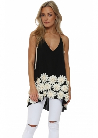 Black Beaded Diamante Flowers Swing Top