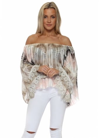 Grande Pink & Mocha Off The Shoulder Top