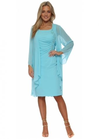 Aqua Sequin Ruched Lace Dress & Chiffon Coat