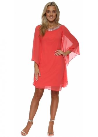 Coral Chiffon Diamonte Batwing Dress