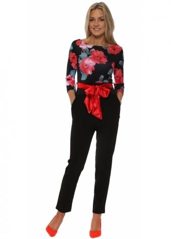Floral Bodice Red Sash Tuxedo Jumpsuit