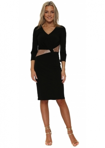 Black Long Sleeved Pencil Dress With Gold Beaded Waist
