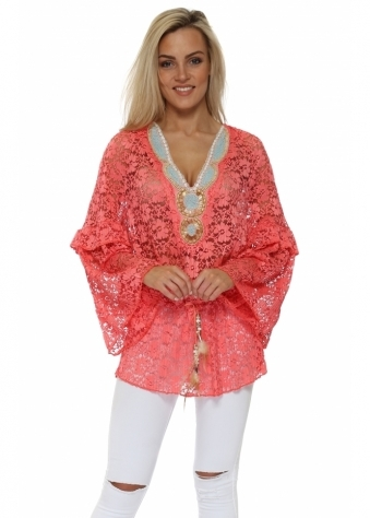 Dentelle Coral Floral Lace Embellished Tunic Top