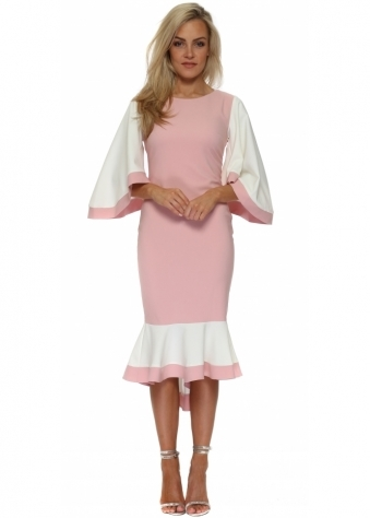 Pink Colour Block Frill Batwing Fishtail Dress
