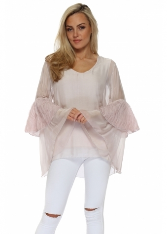 Baby Pink Frayed Bell Sleeve Silk Top
