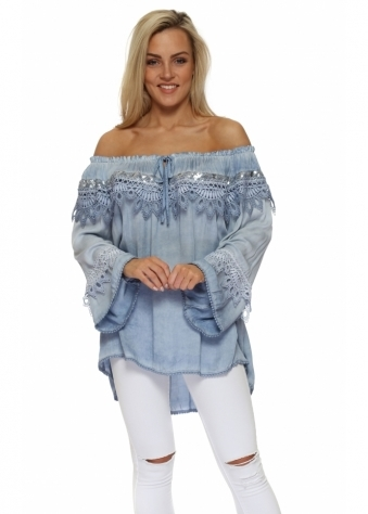 Blue Sequinned Lace Off The Shoulder Top