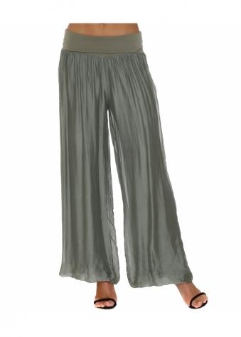 Khaki Silk Palazzo Trousers