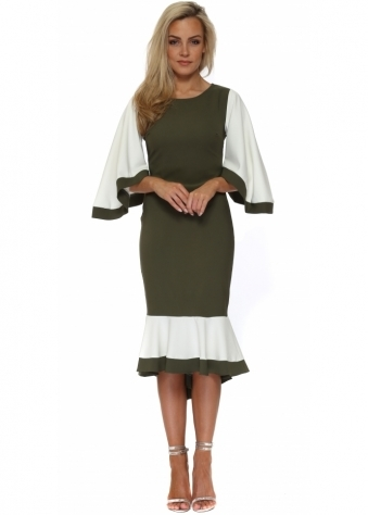 Khaki Colour Block Frill Batwing Fishtail Dress
