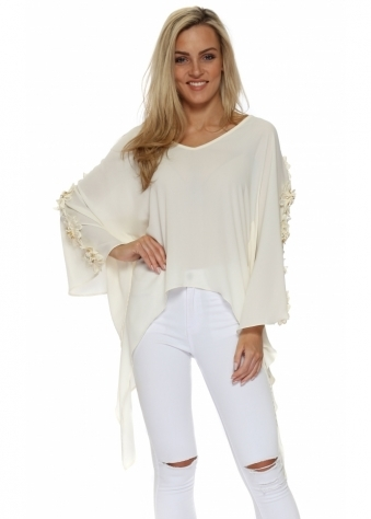 Cream Floral Embellished Kaftan Top