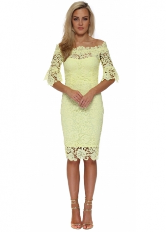 Yellow Crochet Lace Bardot Pencil Dress