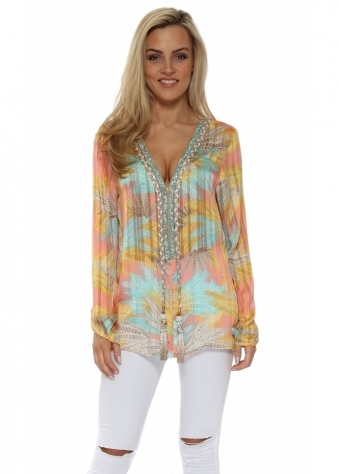Diams Candy Province Print Crystal Embellished Top