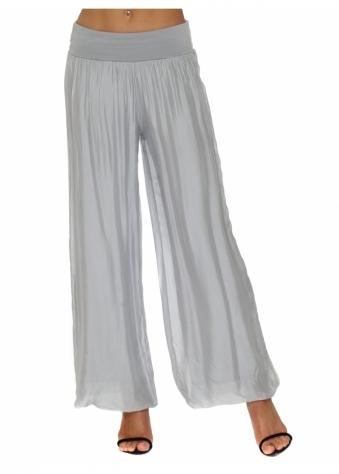 Dove Grey Silk Palazzo Trousers