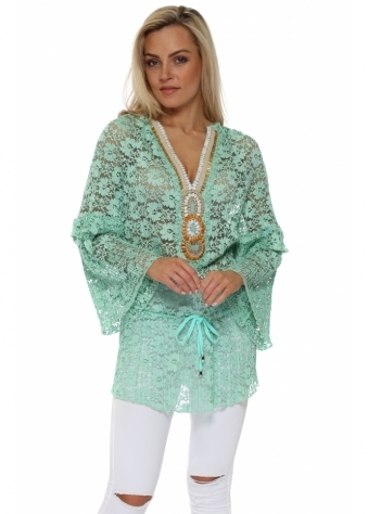 Dentelle Mint Floral Lace Embellished Tunic Top