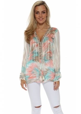 Diams Pastel Province Print Crystal Embellished Tunic Top