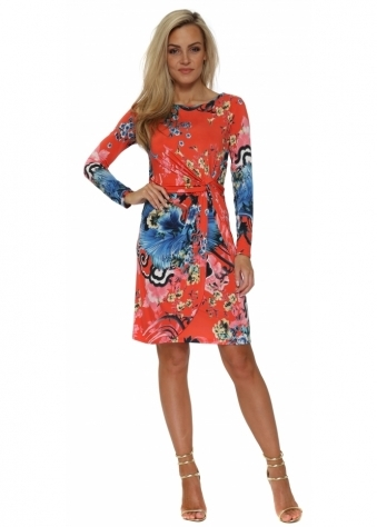 Coral & Blue Floral Tulip Wrap Dress